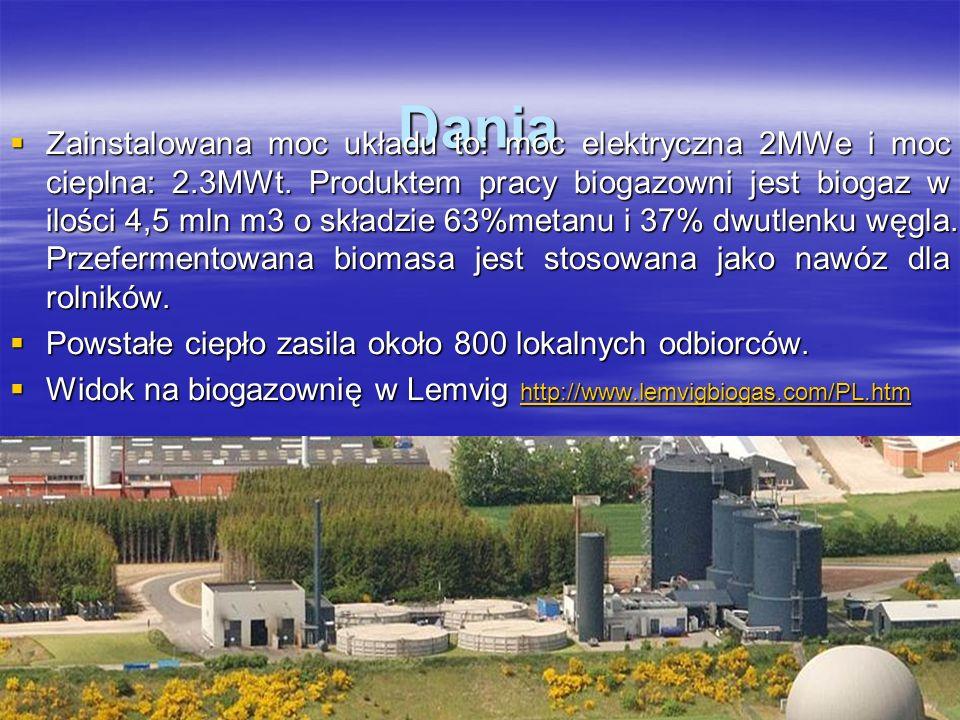 Dania Zainstalowana moc układu to: moc elektryczna 2MWe i moc cieplna: 2.3MWt. Produktem pracy biogazowni jest biogaz w ilości 4,5 mln m3 o składzie 6