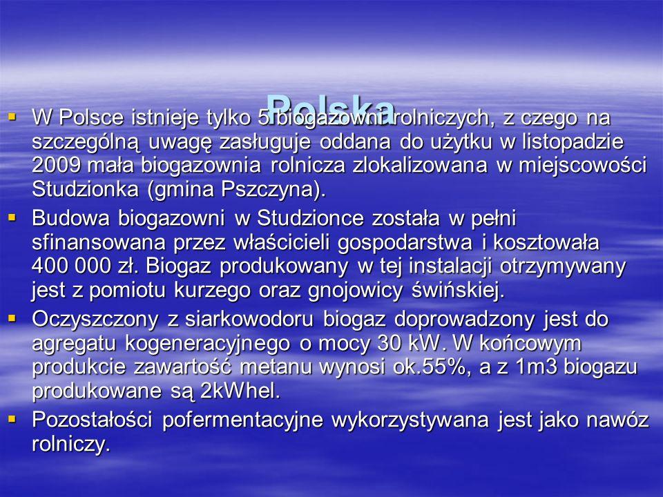 Polska W Polsce istnieje tylko 5 biogazowni rolniczych, z czego na szczególną uwagę zasługuje oddana do użytku w listopadzie 2009 mała biogazownia rol