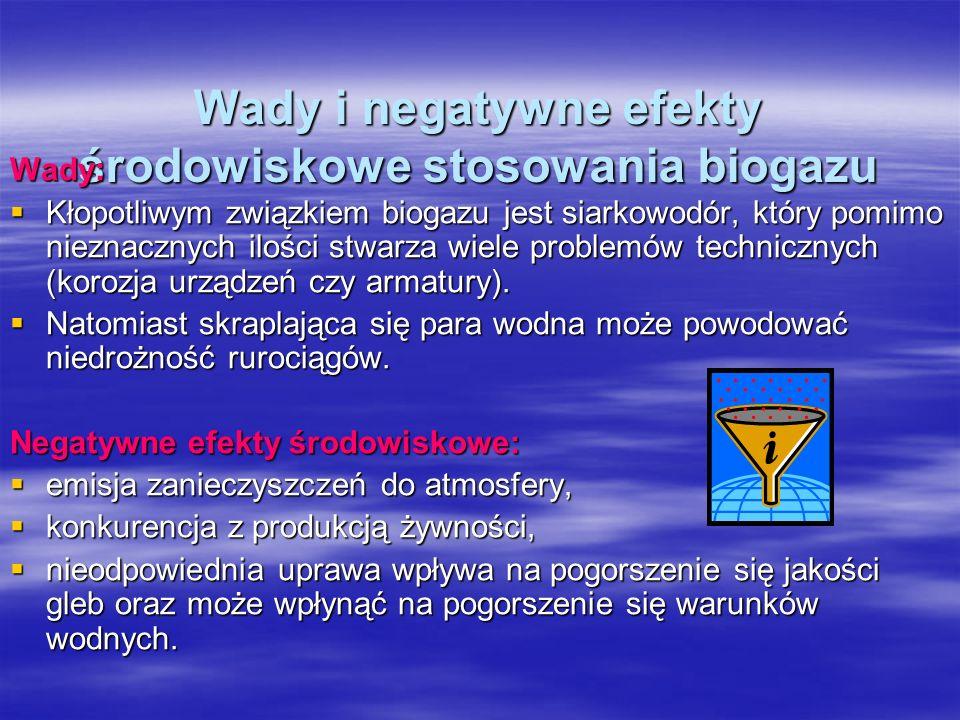 Wady i negatywne efekty środowiskowe stosowania biogazu Wady: Kłopotliwym związkiem biogazu jest siarkowodór, który pomimo nieznacznych ilości stwarza