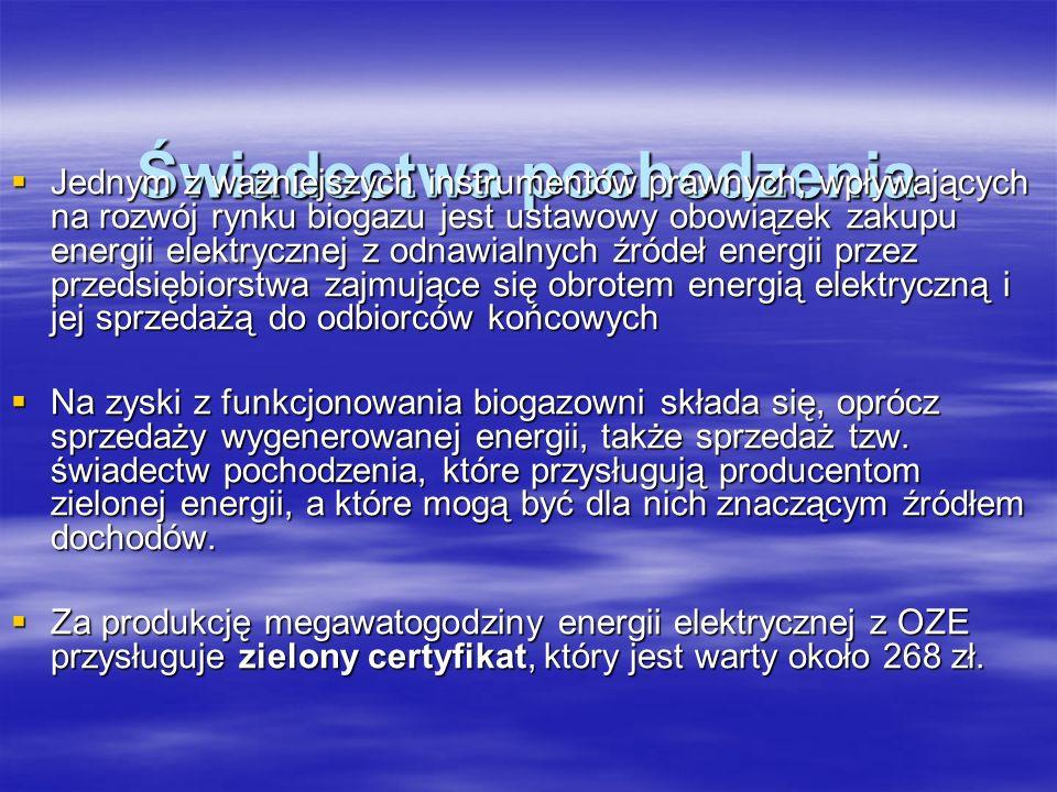 Świadectwa pochodzenia Jednym z ważniejszych instrumentów prawnych, wpływających na rozwój rynku biogazu jest ustawowy obowiązek zakupu energii elektr