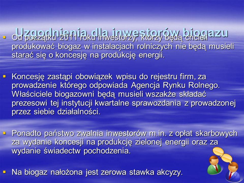 Uzgodnienia dla inwestorów biogazu Od początku 2011 roku inwestorzy, którzy będą chcieli produkować biogaz w instalacjach rolniczych nie będą musieli
