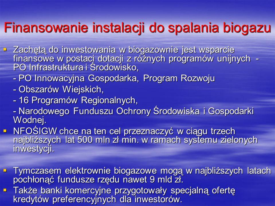 Finansowanie instalacji do spalania biogazu Zachętą do inwestowania w biogazownie jest wsparcie finansowe w postaci dotacji z różnych programów unijny