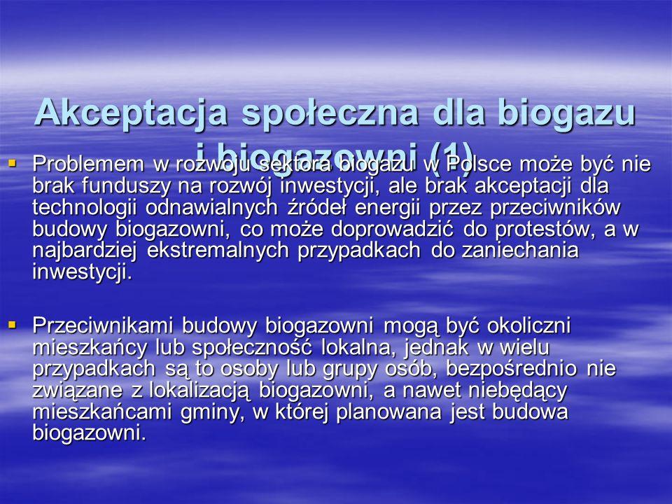 Akceptacja społeczna dla biogazu i biogazowni (1) Problemem w rozwoju sektora biogazu w Polsce może być nie brak funduszy na rozwój inwestycji, ale br