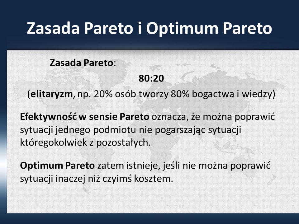 Zasada Pareto i Optimum Pareto Zasada Pareto: 80:20 (elitaryzm, np.