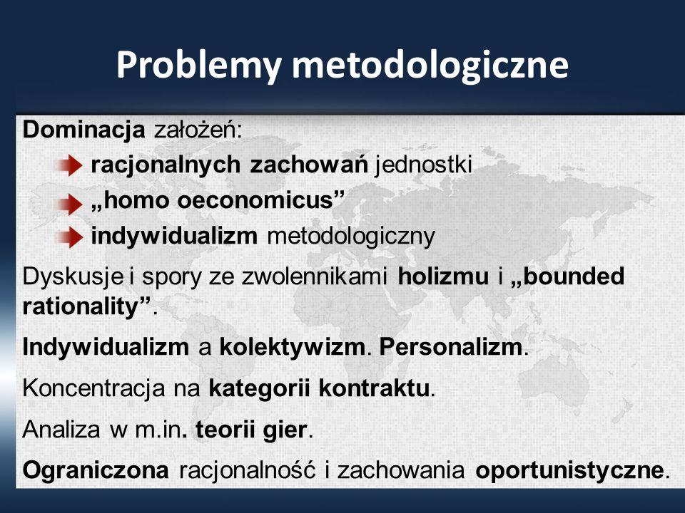 Problemy metodologiczne Dominacja założeń: racjonalnych zachowań jednostki homo oeconomicus indywidualizm metodologiczny Dyskusje i spory ze zwolennikami holizmu i bounded rationality.