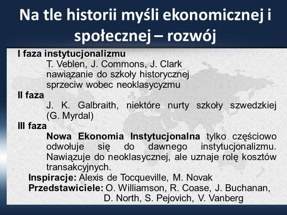 Na tle historii myśli ekonomicznej i społecznej – rozwój I faza instytucjonalizmu T.