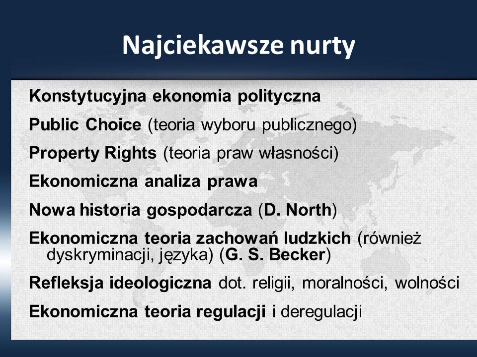 Najciekawsze nurty Konstytucyjna ekonomia polityczna Public Choice (teoria wyboru publicznego) Property Rights (teoria praw własności) Ekonomiczna analiza prawa Nowa historia gospodarcza (D.