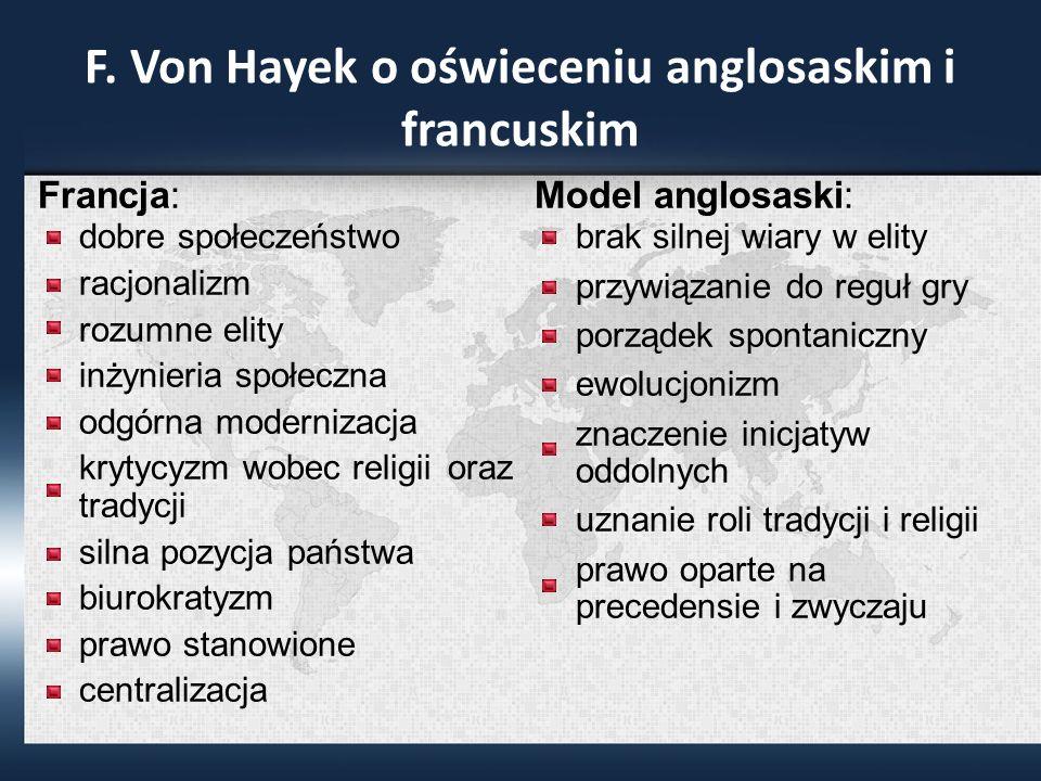 F. Von Hayek o oświeceniu anglosaskim i francuskim Francja: dobre społeczeństwo racjonalizm rozumne elity inżynieria społeczna odgórna modernizacja kr