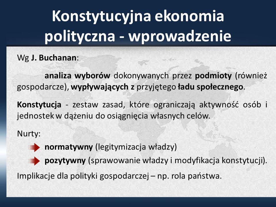 Konstytucyjna ekonomia polityczna - wprowadzenie Wg J.