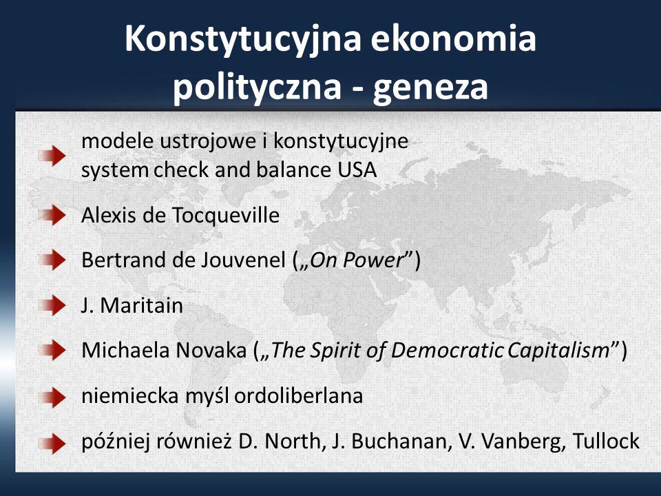 Konstytucyjna ekonomia polityczna - geneza modele ustrojowe i konstytucyjne system check and balance USA Alexis de Tocqueville Bertrand de Jouvenel (On Power) J.