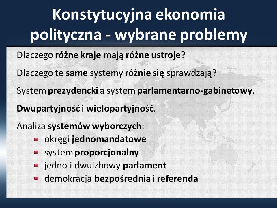 Konstytucyjna ekonomia polityczna - wybrane problemy Dlaczego różne kraje mają różne ustroje.
