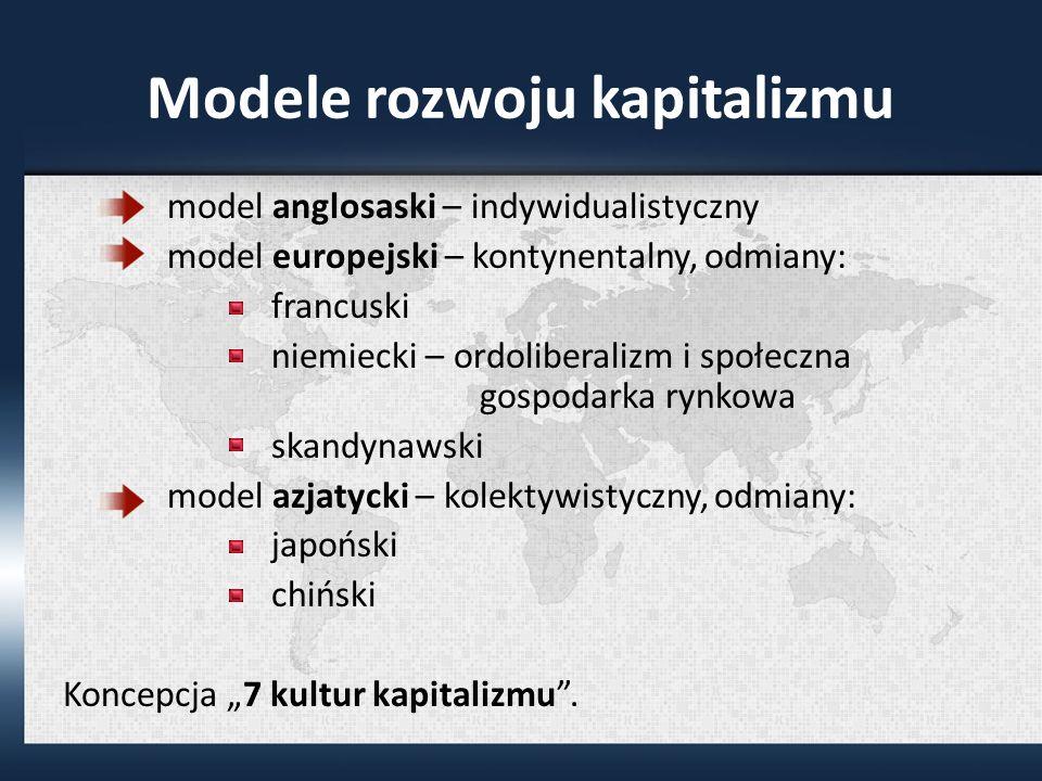 Modele rozwoju kapitalizmu model anglosaski – indywidualistyczny model europejski – kontynentalny, odmiany: francuski niemiecki – ordoliberalizm i społeczna gospodarka rynkowa skandynawski model azjatycki – kolektywistyczny, odmiany: japoński chiński Koncepcja 7 kultur kapitalizmu.