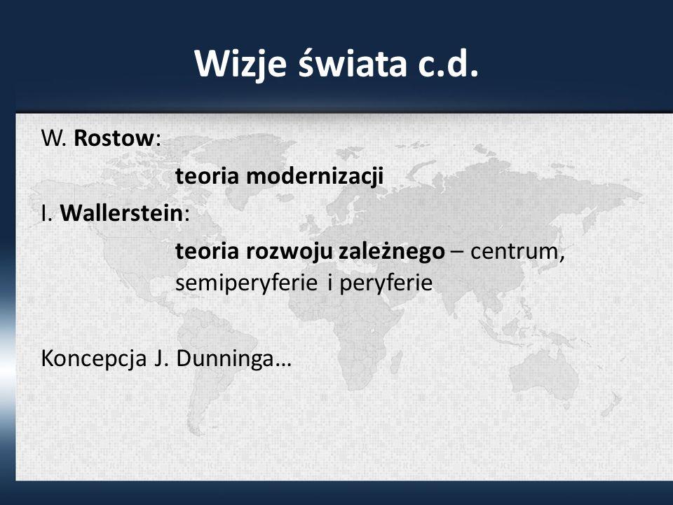 Wizje świata c.d.W. Rostow: teoria modernizacji I.