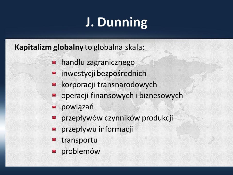 J. Dunning Kapitalizm globalny to globalna skala: handlu zagranicznego inwestycji bezpośrednich korporacji transnarodowych operacji finansowych i bizn