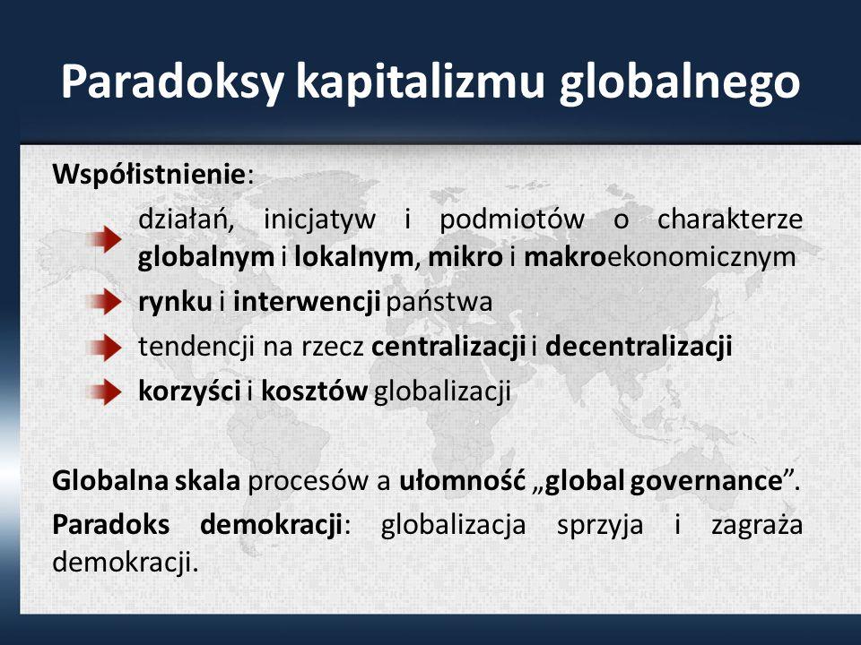 Paradoksy kapitalizmu globalnego Współistnienie: działań, inicjatyw i podmiotów o charakterze globalnym i lokalnym, mikro i makroekonomicznym rynku i interwencji państwa tendencji na rzecz centralizacji i decentralizacji korzyści i kosztów globalizacji Globalna skala procesów a ułomność global governance.