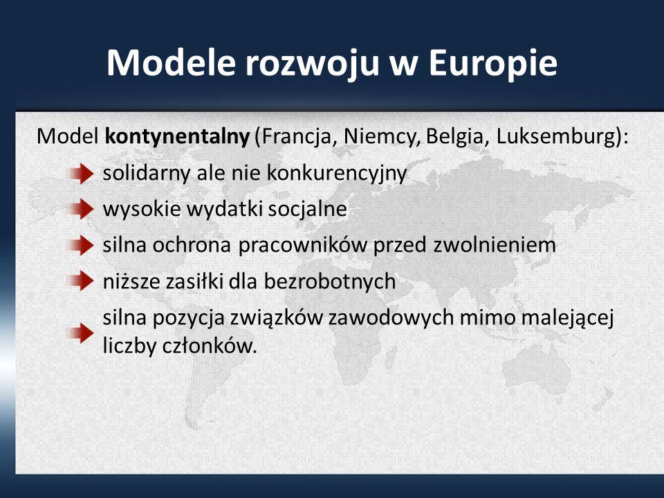 Modele rozwoju w Europie Model kontynentalny (Francja, Niemcy, Belgia, Luksemburg): solidarny ale nie konkurencyjny wysokie wydatki socjalne silna ochrona pracowników przed zwolnieniem niższe zasiłki dla bezrobotnych silna pozycja związków zawodowych mimo malejącej liczby członków.