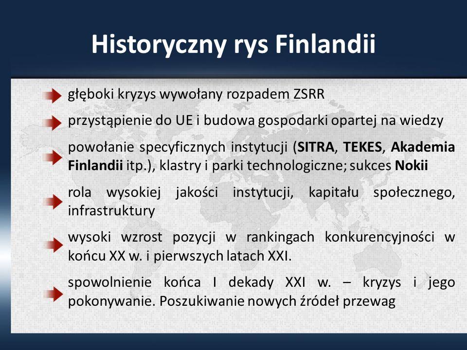 Historyczny rys Finlandii głęboki kryzys wywołany rozpadem ZSRR przystąpienie do UE i budowa gospodarki opartej na wiedzy powołanie specyficznych instytucji (SITRA, TEKES, Akademia Finlandii itp.), klastry i parki technologiczne; sukces Nokii rola wysokiej jakości instytucji, kapitału społecznego, infrastruktury wysoki wzrost pozycji w rankingach konkurencyjności w końcu XX w.