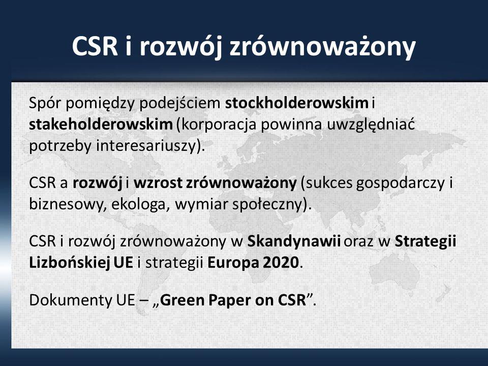 CSR i rozwój zrównoważony Spór pomiędzy podejściem stockholderowskim i stakeholderowskim (korporacja powinna uwzględniać potrzeby interesariuszy).
