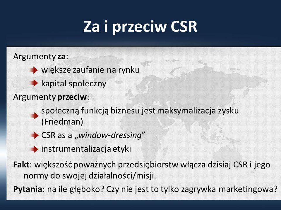 Za i przeciw CSR Argumenty za: większe zaufanie na rynku kapitał społeczny Argumenty przeciw: społeczną funkcją biznesu jest maksymalizacja zysku (Friedman) CSR as a window-dressing instrumentalizacja etyki Fakt: większość poważnych przedsiębiorstw włącza dzisiaj CSR i jego normy do swojej działalności/misji.