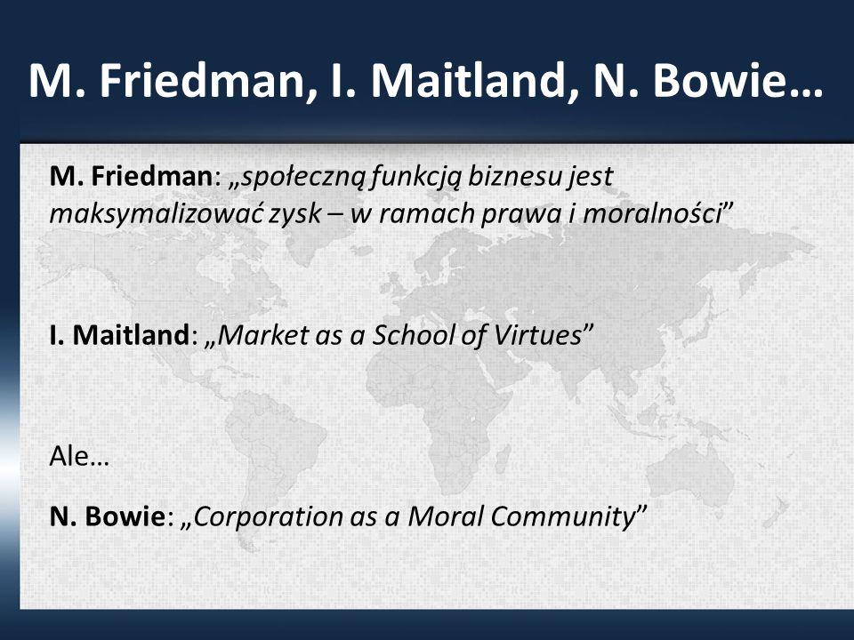 M.Friedman, I. Maitland, N. Bowie… M.