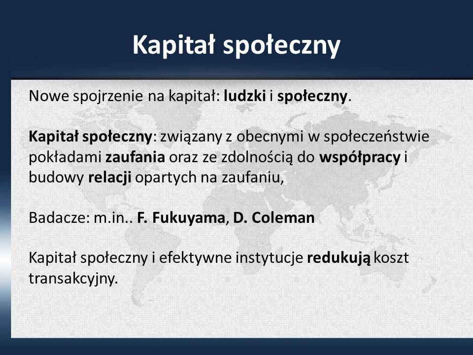 Kapitał społeczny Nowe spojrzenie na kapitał: ludzki i społeczny.
