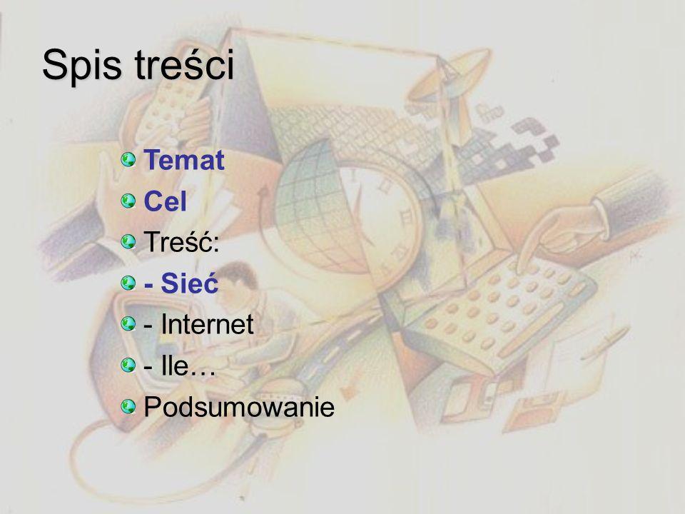 Sieć: co to i po co? Zbiór komputerów Brak indeksów i archiwów Ład danych Szybkie szukanie informacji Przyspieszenie pracy Korzystanie z jednej drukar