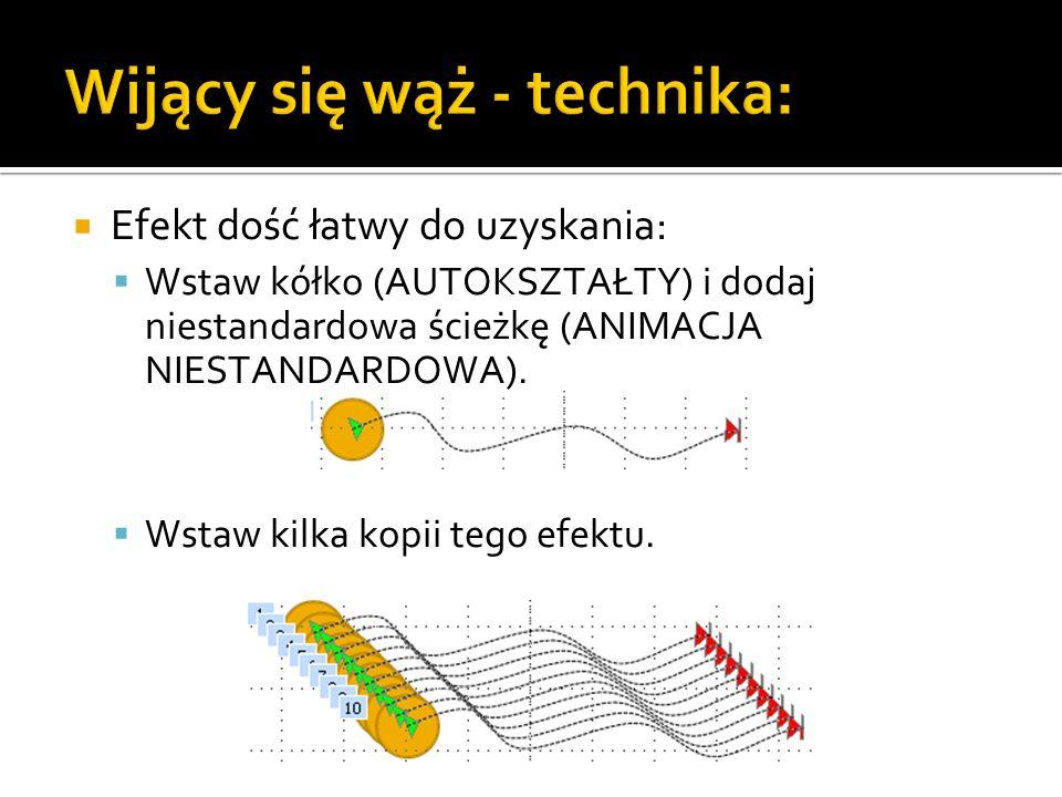 Wijący się wąż - technika: Efekt dość łatwy do uzyskania: Wstaw kółko (AUTOKSZTAŁTY) i dodaj niestandardowa ścieżkę (ANIMACJA NIESTANDARDOWA).