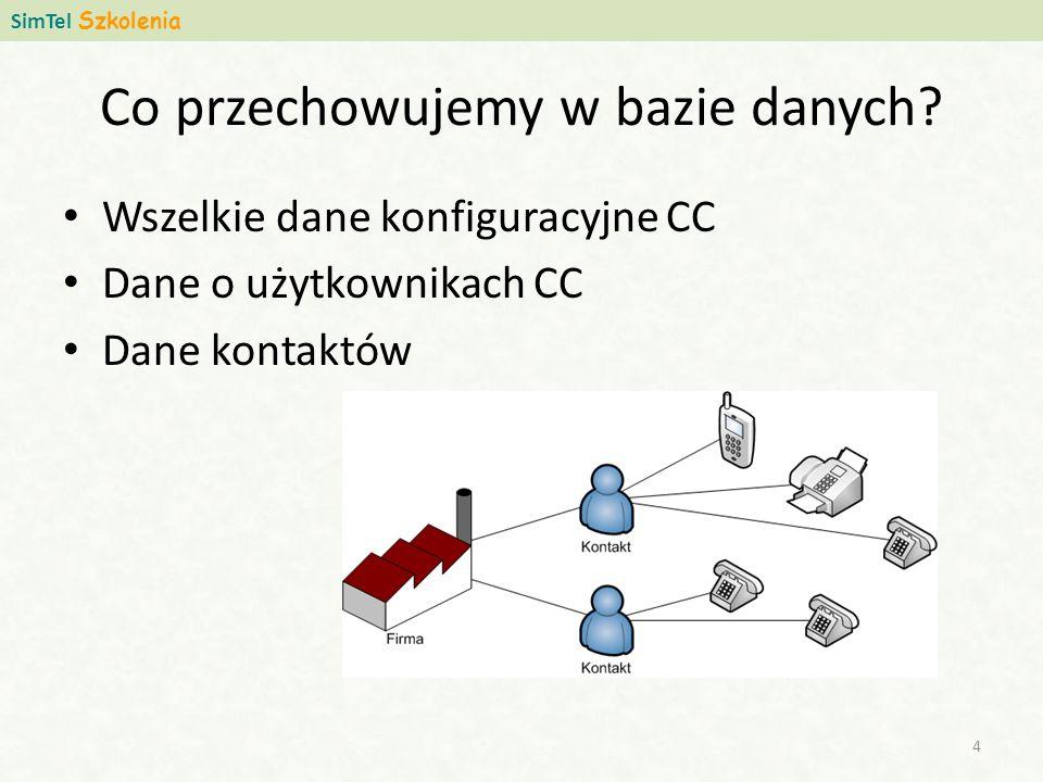 Zewnętrzne bazy danych W każdej instalacji musi być struktura bazy naszego CallCenter na jednym z dwóch wspieranych silników bazodanowych Dane klienta mogą być kopiowane do naszej bazy – Pliki CSV (tekst oddzielony przecinkami), względnie pliki excel, pliki XML – Integracja danych na poziomie silników bazy danych Jeżeli jest taka potrzeba, aplikacje mogą zostać dostosowane do tego, aby część danych pobierać z zewnętrznej wskazanej przez klienta bazy danych (typowo dane klienta), natomiast wszelkie operacje są wykonywane niezmiennie na bazie SimCallCenter.