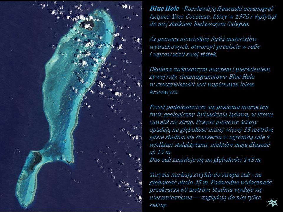 Blue Hole t o wielka rozpadlina (jaskinia morska) rafy koralowej w Morzu Karaibskim. Odległośc jej od Belize City wynosi około 80 km w głąb morza,pośr