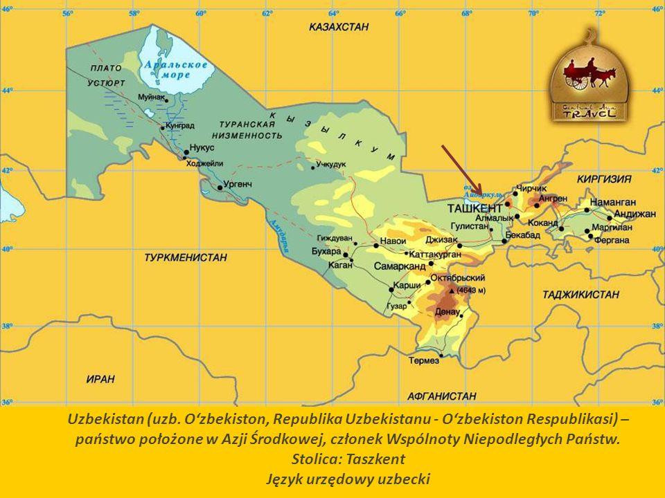 Klimat Uzbekistanu jest kontynentalny skrajnie suchy z ciepłymi zimami (temperatura wahająca się w przedziale 3 do 10 °C) i gorącym, suchym latem z temperaturami sięgającymi nawet 45 °C.