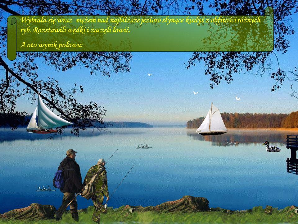 DA - MA Wybrała się wraz mężem nad najbliższe jezioro słynące kiedyś z obfitości różnych ryb.