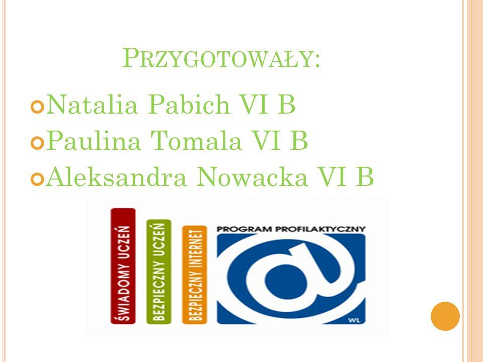 P RZYGOTOWAŁY : Natalia Pabich VI B Paulina Tomala VI B Aleksandra Nowacka VI B