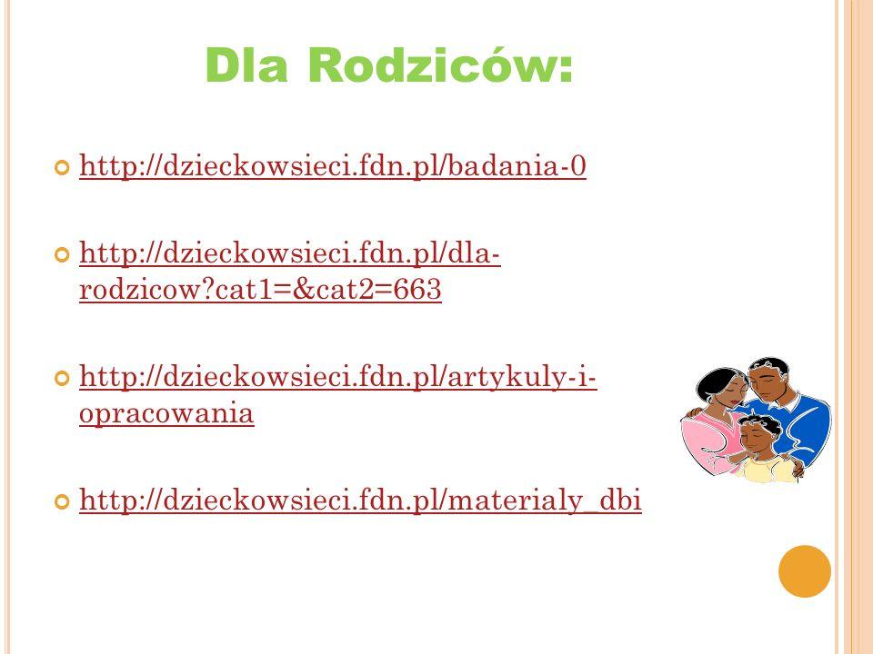 Dla dzieci młodzieży: http://dzieckowsieci.fdn.pl/scenariusz-zajec-stop- cyberprzemocy http://dzieckowsieci.fdn.pl/scenariusz-zajec-stop- cyberprzemocy http://dzieckowsieci.fdn.pl/scenariusz-zajec-3-2-1- internet http://dzieckowsieci.fdn.pl/scenariusz-zajec-3-2-1- internet http://dzieckowsieci.fdn.pl/materialy_dbi