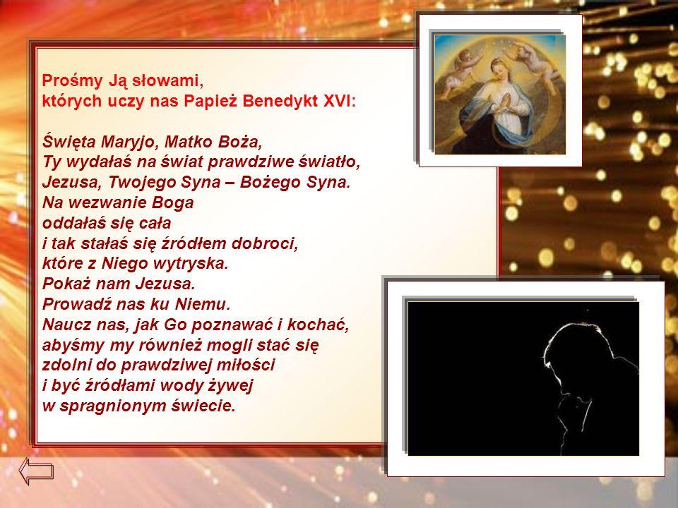 Prośmy Ją słowami, których uczy nas Papież Benedykt XVI: Święta Maryjo, Matko Boża, Ty wydałaś na świat prawdziwe światło, Jezusa, Twojego Syna – Bożego Syna.