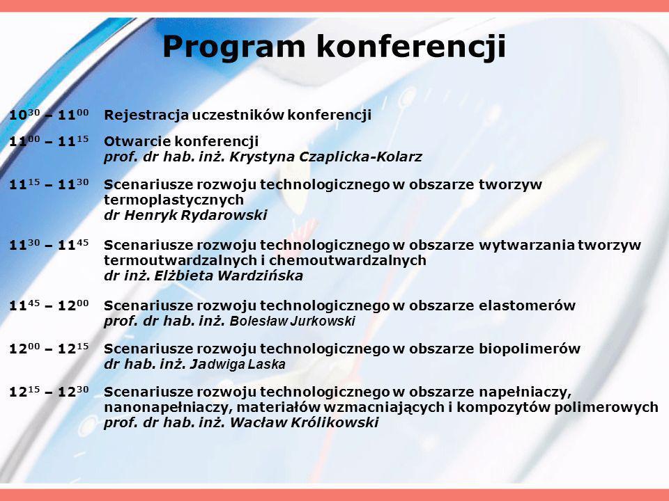 Program konferencji 10 30 – 11 00 Rejestracja uczestników konferencji 11 00 – 11 15 Otwarcie konferencji prof.
