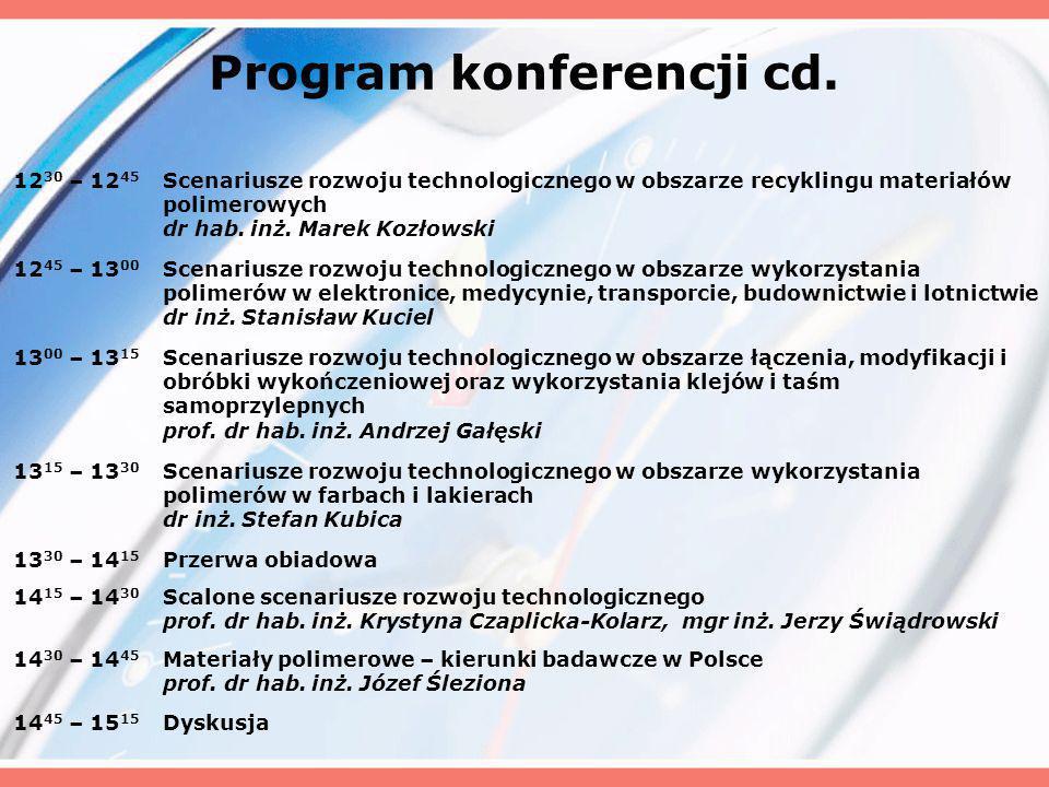 Program konferencji cd. 12 30 – 12 45 Scenariusze rozwoju technologicznego w obszarze recyklingu materiałów polimerowych dr hab. inż. Marek Kozłowski