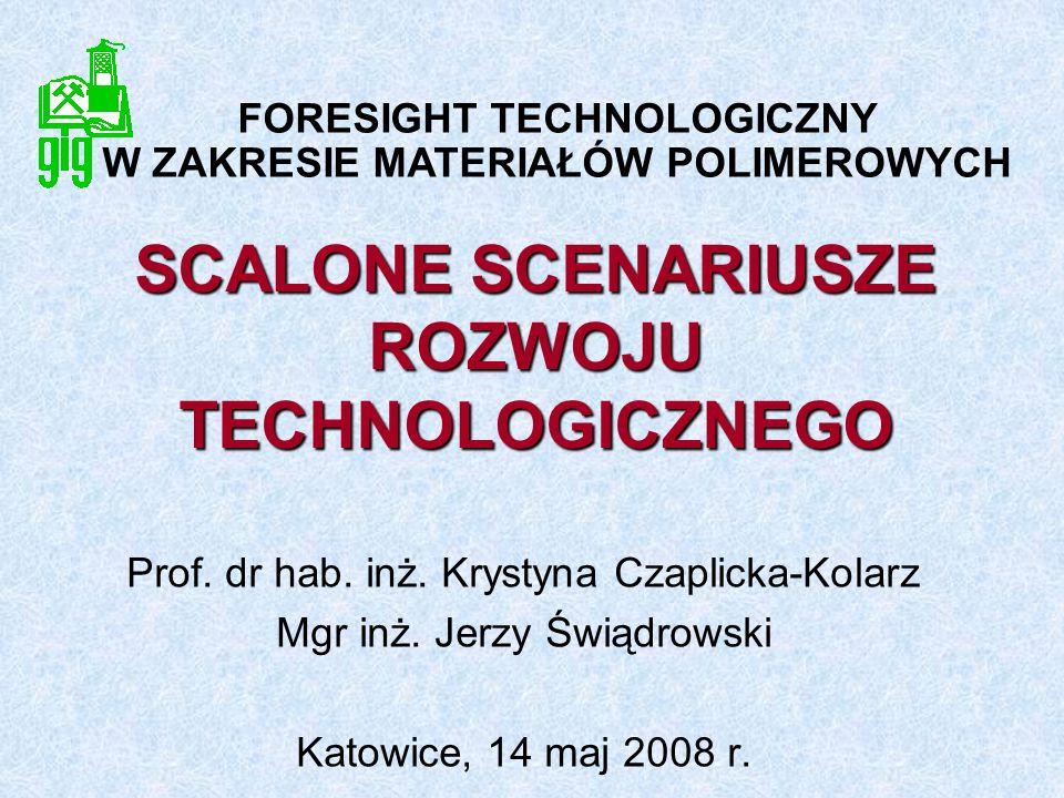 SCALONE SCENARIUSZE ROZWOJU TECHNOLOGICZNEGO Prof. dr hab. inż. Krystyna Czaplicka-Kolarz Mgr inż. Jerzy Świądrowski Katowice, 14 maj 2008 r. FORESIGH