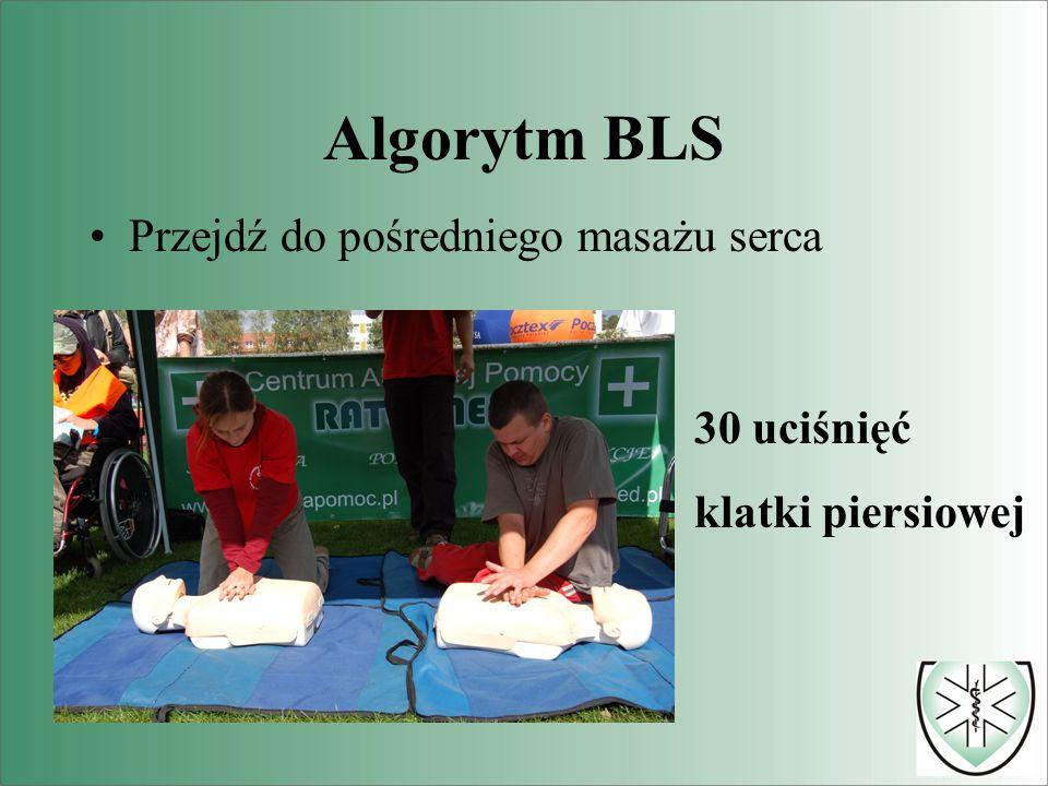 Algorytm BLS Przejdź do pośredniego masażu serca 30 uciśnięć klatki piersiowej