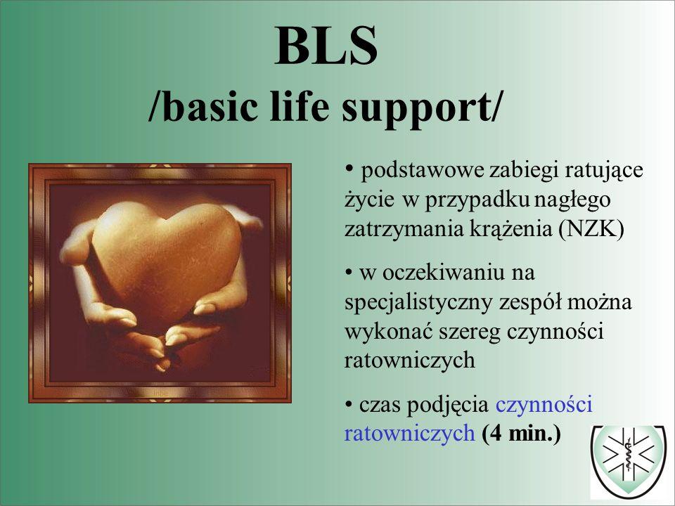 BLS /basic life support/ podstawowe zabiegi ratujące życie w przypadku nagłego zatrzymania krążenia (NZK) w oczekiwaniu na specjalistyczny zespół można wykonać szereg czynności ratowniczych czas podjęcia czynności ratowniczych (4 min.)