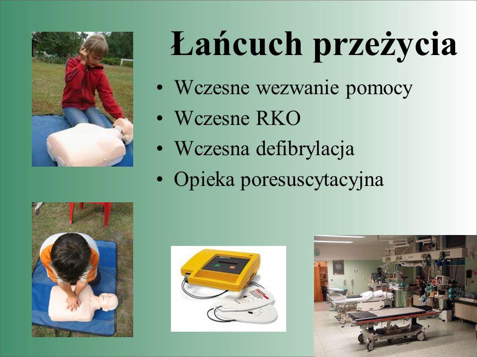 Łańcuch przeżycia Wczesne wezwanie pomocy Wczesne RKO Wczesna defibrylacja Opieka poresuscytacyjna