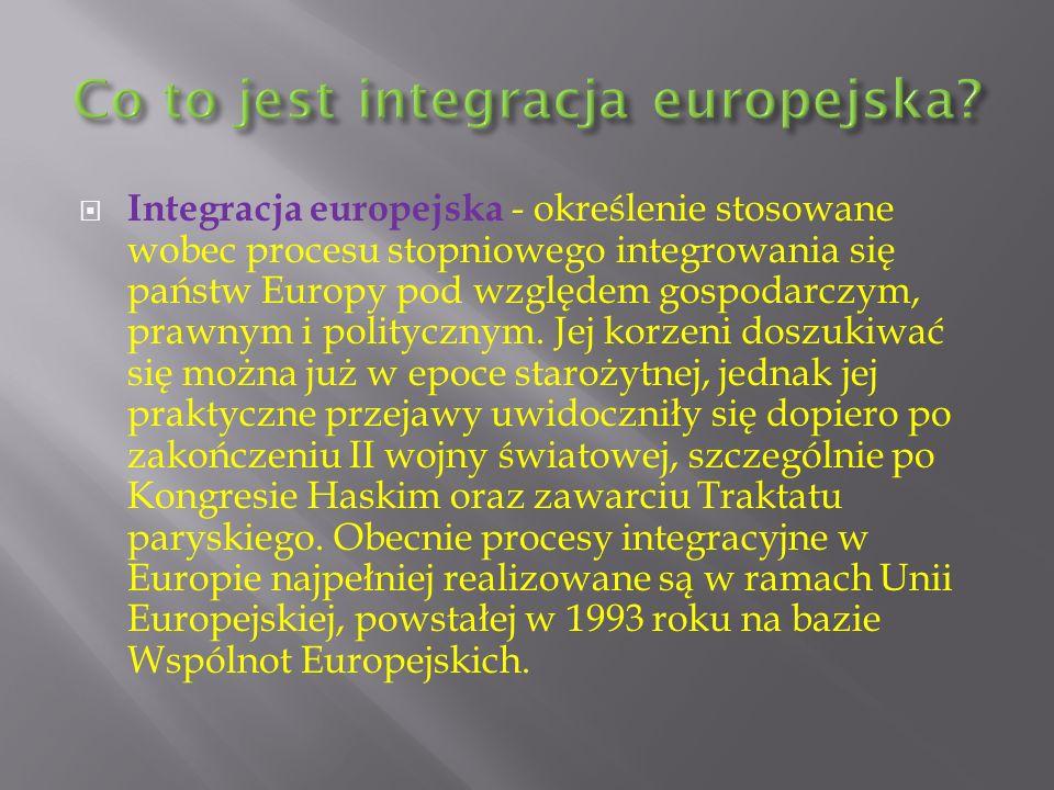 Integracja europejska - określenie stosowane wobec procesu stopniowego integrowania się państw Europy pod względem gospodarczym, prawnym i politycznym.