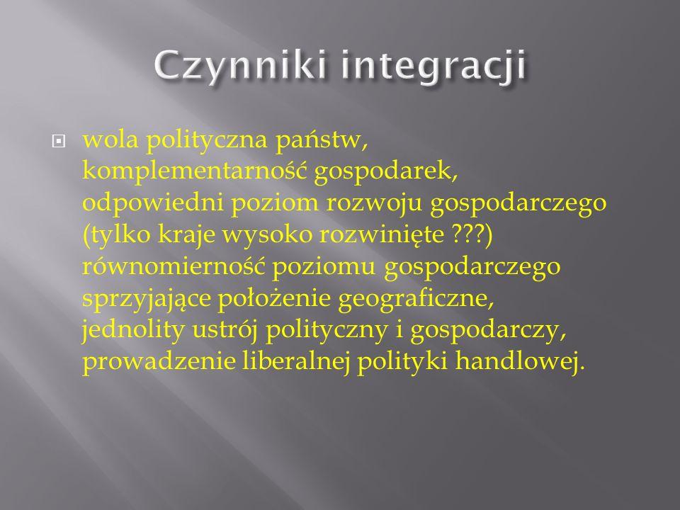 integracja ekonomiczna (gospodarcza), polegająca na usuwaniu ograniczeń w handlu między państwami i zapewnieniu swobody przepływu towarów, usług, osób