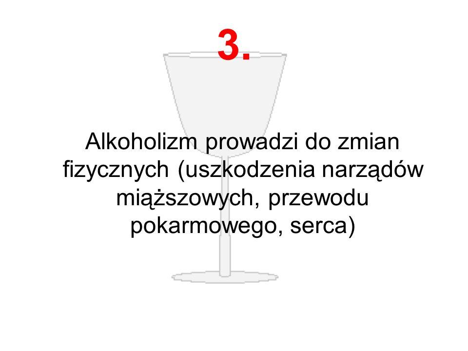 3. Alkoholizm prowadzi do zmian fizycznych (uszkodzenia narządów miąższowych, przewodu pokarmowego, serca)