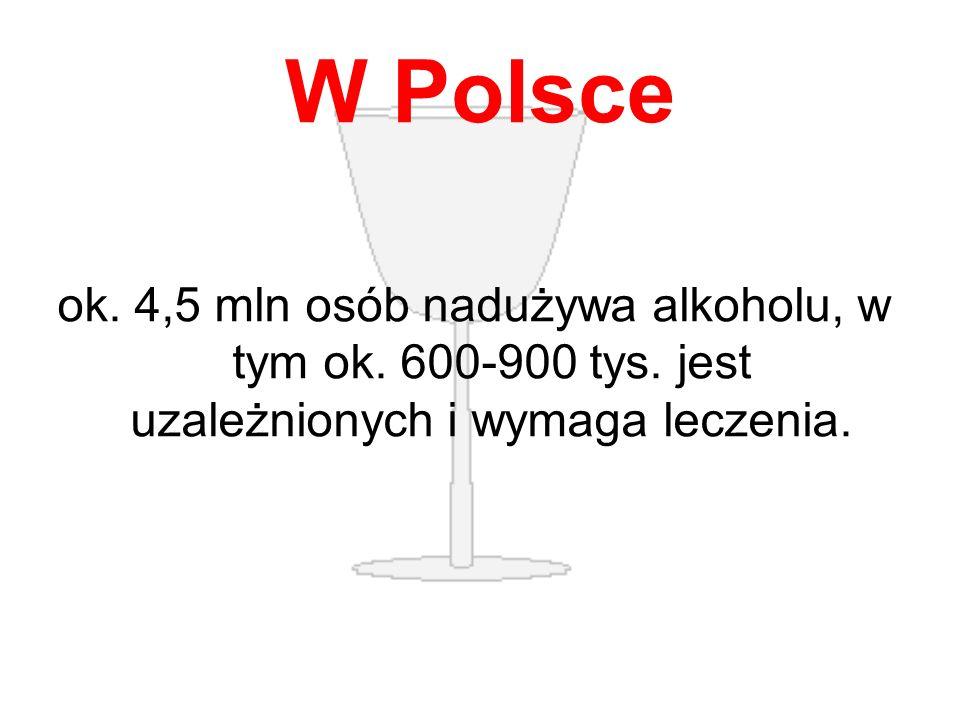 W Polsce ok. 4,5 mln osób nadużywa alkoholu, w tym ok. 600-900 tys. jest uzależnionych i wymaga leczenia.