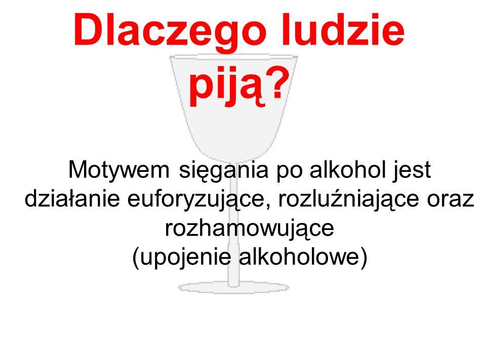 Dlaczego ludzie piją? Motywem sięgania po alkohol jest działanie euforyzujące, rozluźniające oraz rozhamowujące (upojenie alkoholowe)