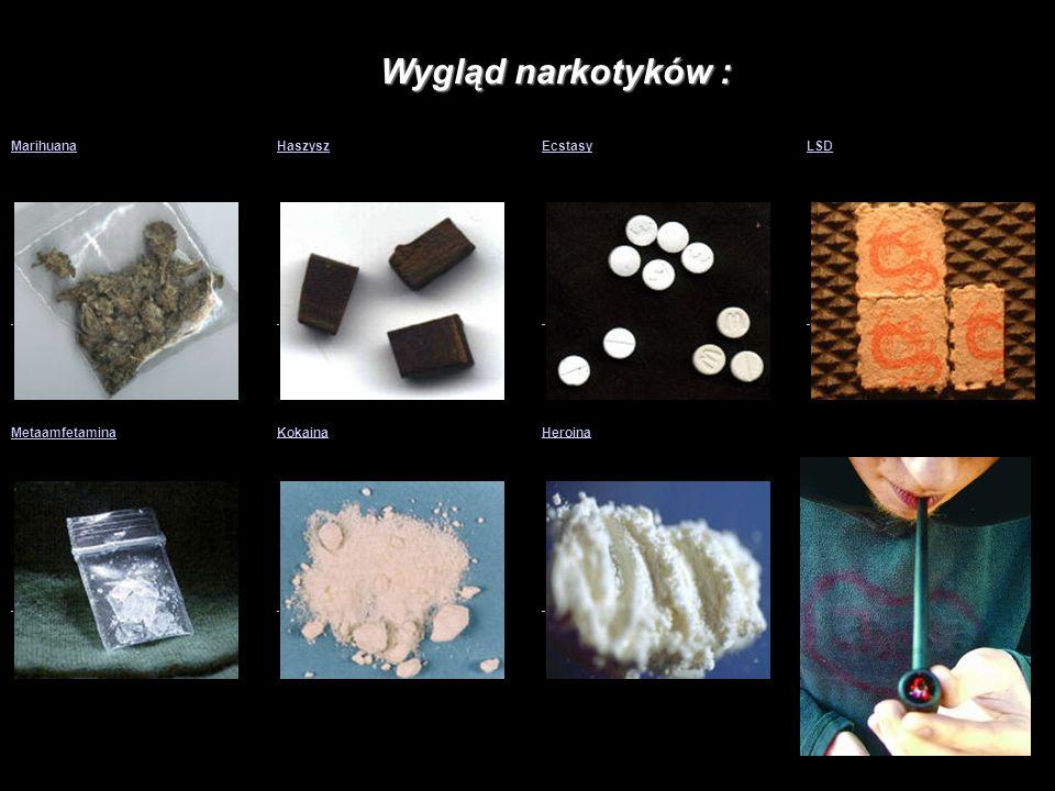 Wygląd narkotyków : Marihuana Marihuana Haszysz Haszysz Ecstasy Ecstasy LSD LSD Metaamfetamina Metaamfetamina Kokaina Kokaina Heroina Heroina