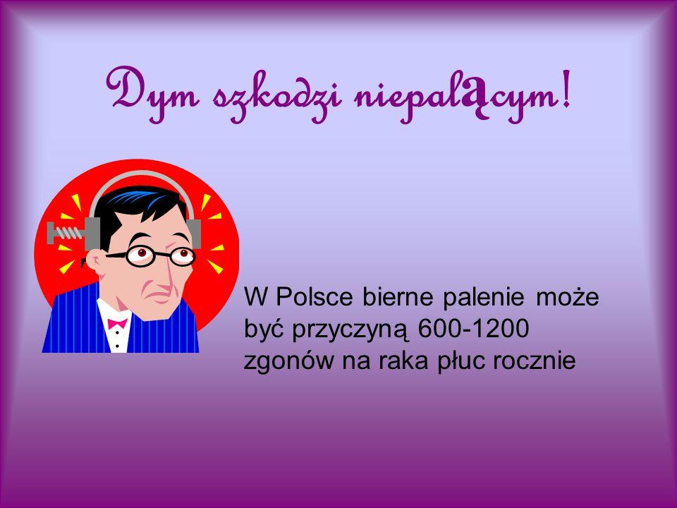 Dym szkodzi niepal ą cym! W Polsce bierne palenie może być przyczyną 600-1200 zgonów na raka płuc rocznie