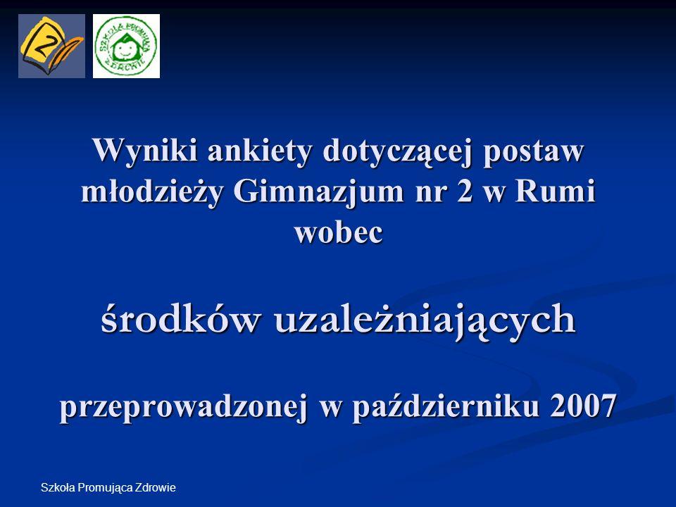 Szkoła Promująca Zdrowie Wyniki ankiety dotyczącej postaw młodzieży Gimnazjum nr 2 w Rumi wobec środków uzależniających przeprowadzonej w październiku
