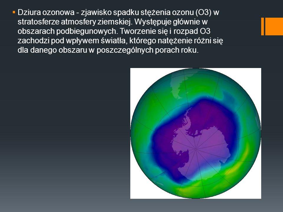 Dziura ozonowa - zjawisko spadku stężenia ozonu (O3) w stratosferze atmosfery ziemskiej. Występuje głównie w obszarach podbiegunowych. Tworzenie się i