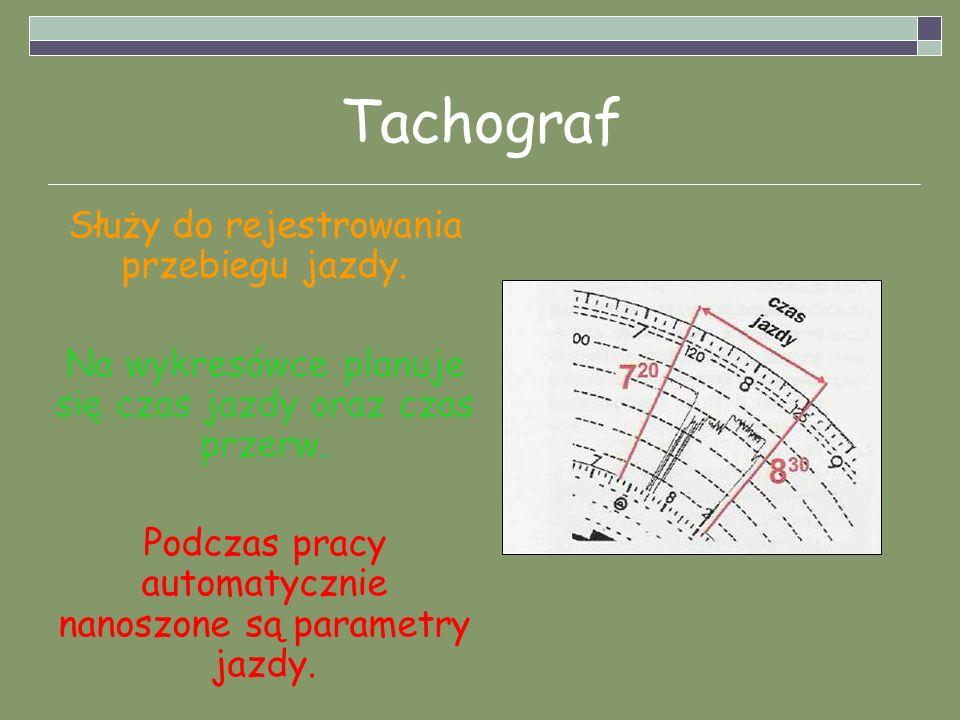 Tachograf Służy do rejestrowania przebiegu jazdy. Na wykresówce planuje się czas jazdy oraz czas przerw. Podczas pracy automatycznie nanoszone są para